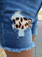 Leopard Pocket Denim Shorts