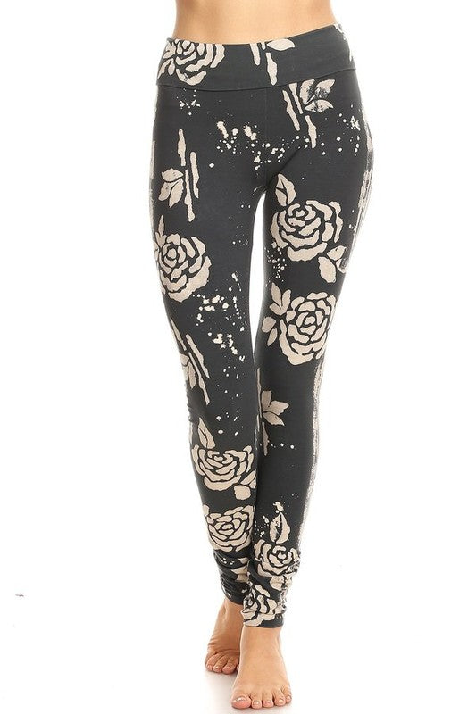 Rose Batik Folded Band Leggings