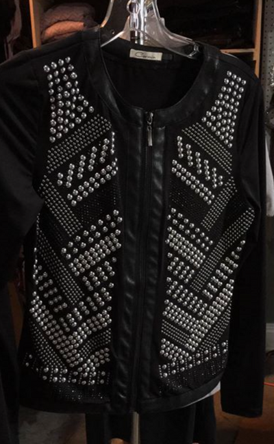 Studded Jacket with Silver & Black Stud Detail