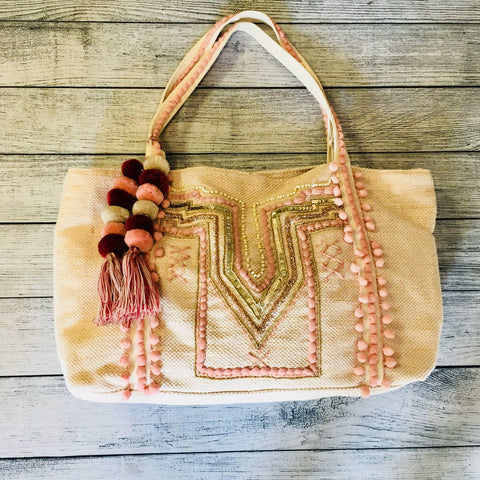 Peach Parfait Embellished Shoulder Bag