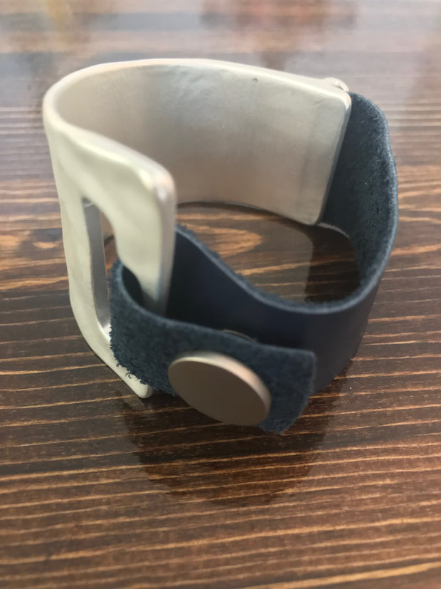 Navy Metal Snap Cuff