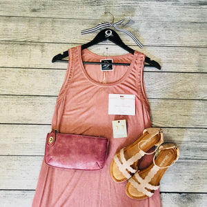 Blush Sleeveless Acid Wash Dress