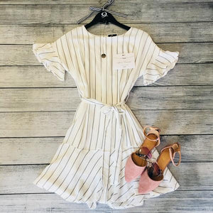 Ruffle Grey And White Dress