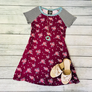 Plum Floral Dress With Polka Dots
