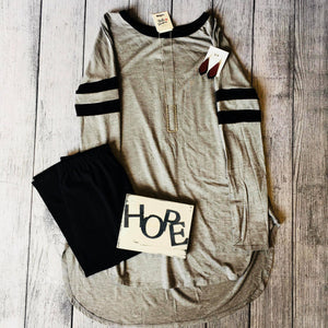 Gray Top With Black Stripe Sleeve