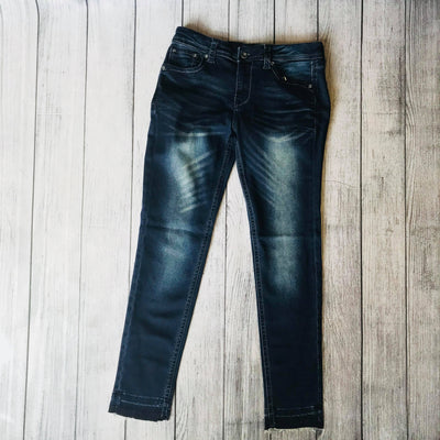 Dark Wash Released Hem Jeans