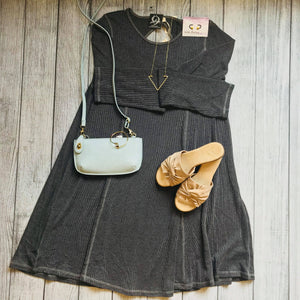 Charcoal Back Cutout Skater Dress