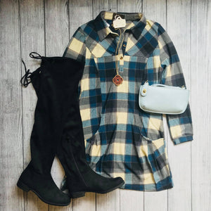 Blue Plaid Sweater Dress