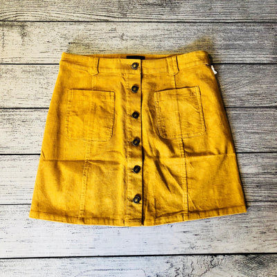 Camel Corduroy Button Front Skirt