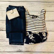 Stripe and Floral Baby Doll Top