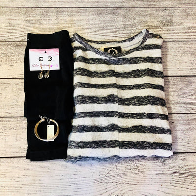 Brushed Hacci Stripe Top