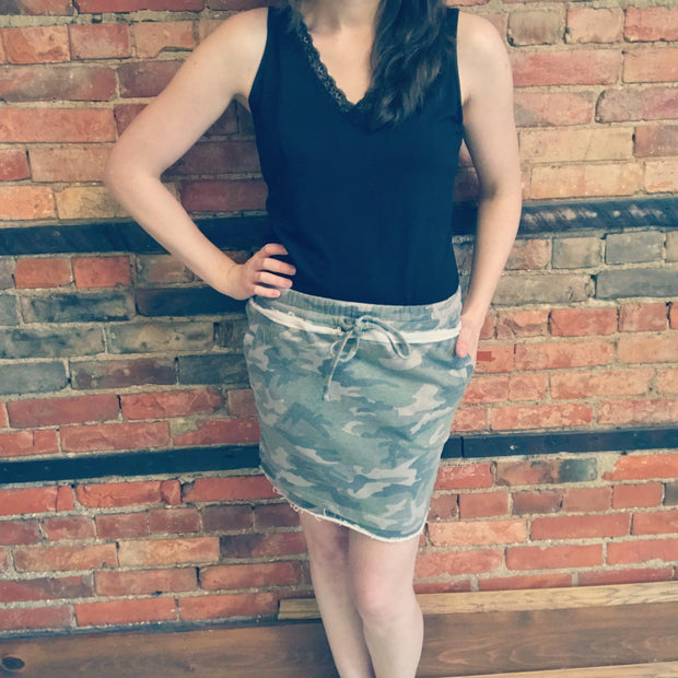 Cotton Knit Camo Skirt