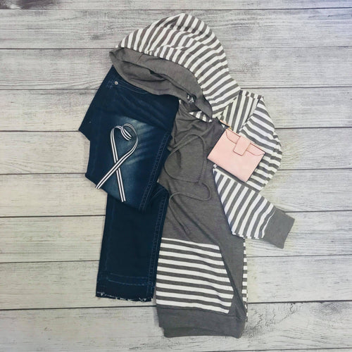 Gray Striped Comfort Hoodie