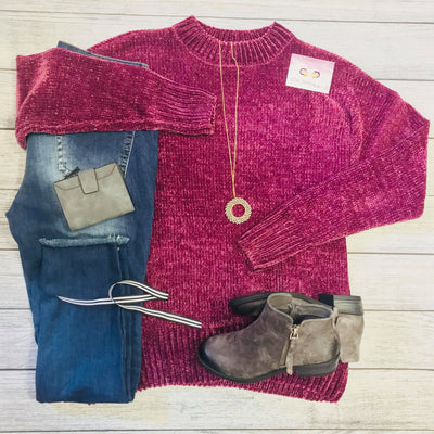 Plum Velvet Yarn Sweater