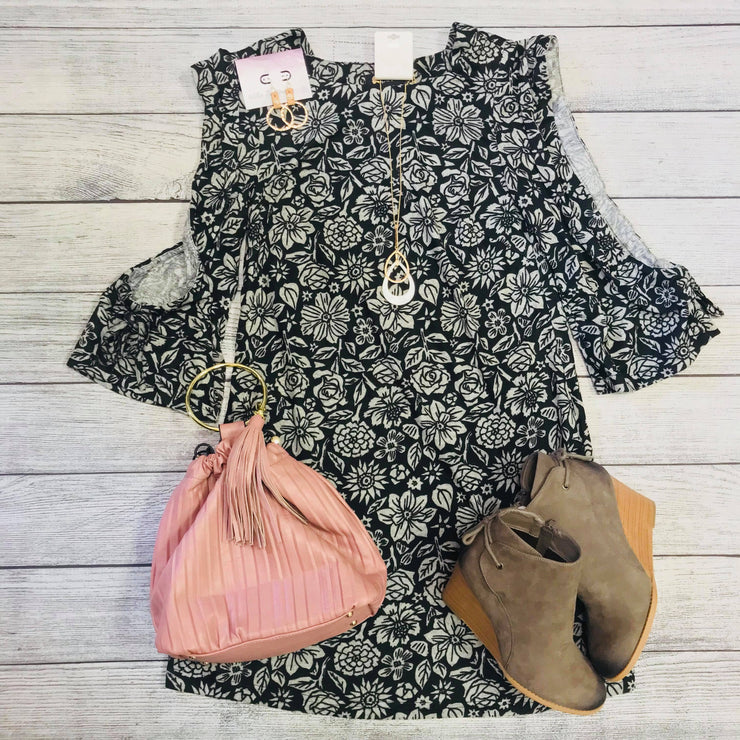 Grey Floral Cold Sleeve Ruffle Dress