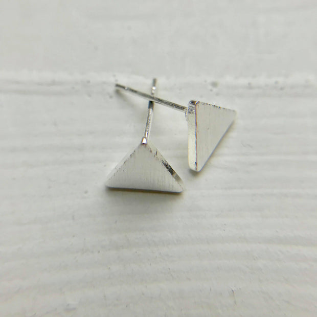 Solid Triangle Earrings - Brushed Silver