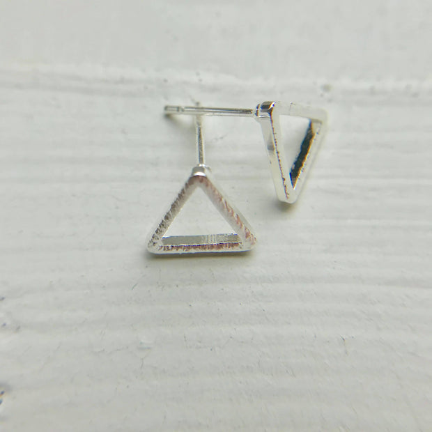 Brushed Triangle Earrings