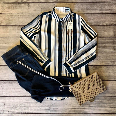 Navy Striped Boyfriend Top