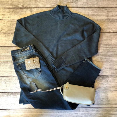 Dark Teal Mock Neck Sweater