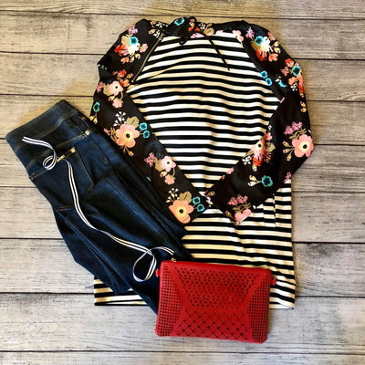 Poppy Floral and Stripe Hoodie Top