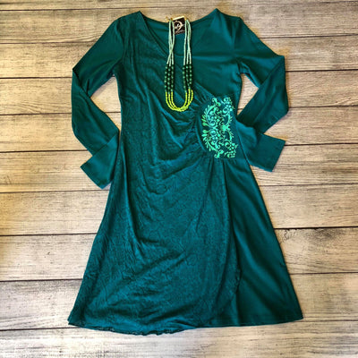Teal Burnout Wrap Dress