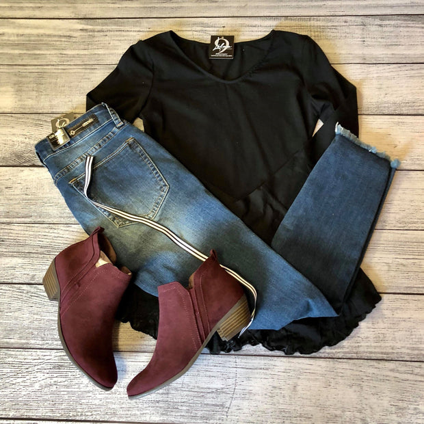 Black Burnout Peplum Top