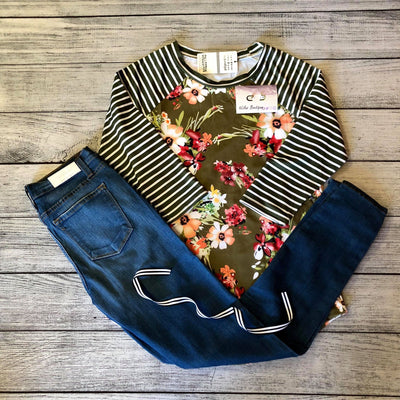 Tropical Floral and Stripe Top