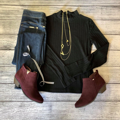Mock Neck Rib Knit Top