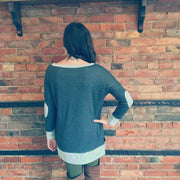 Gray Dolman Elbow Patch Top