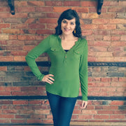 Green Button Pocket Top