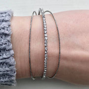 Silver / Rhinestone Three Line Open Cut Bracelet
