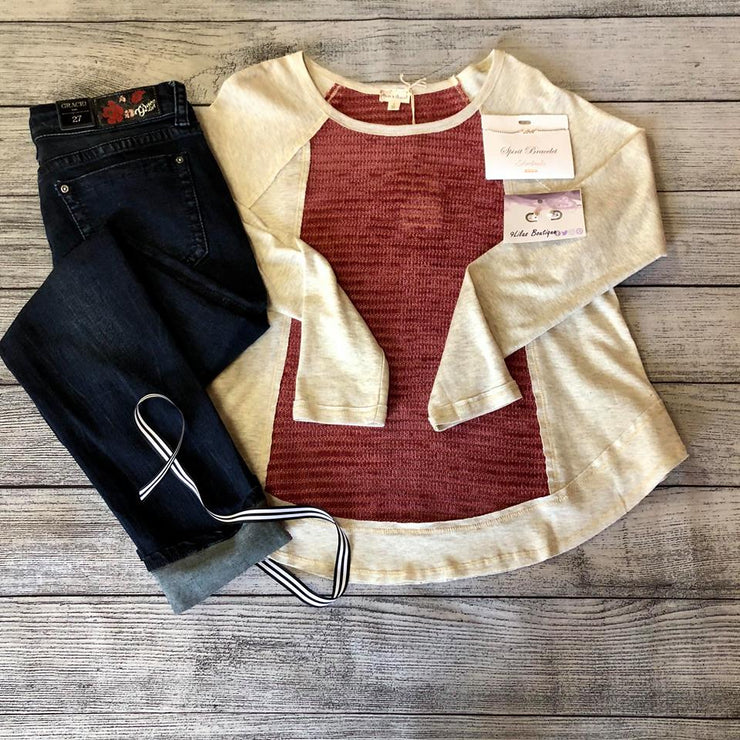 Mauve and Oatmeal Raglan Top