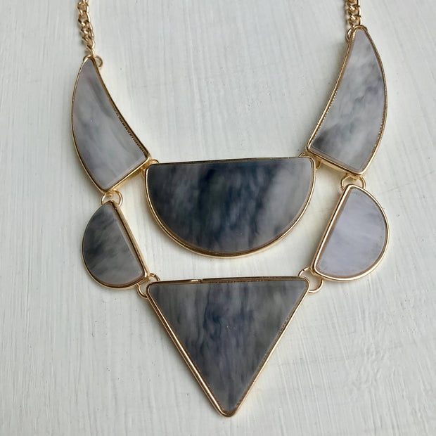 Geometric Grey & Gold Necklace