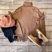 Grommet Lace Poncho Mocha - One Size