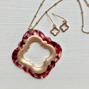 Clover Pendant Necklace & Earrings Set - Red/Gold