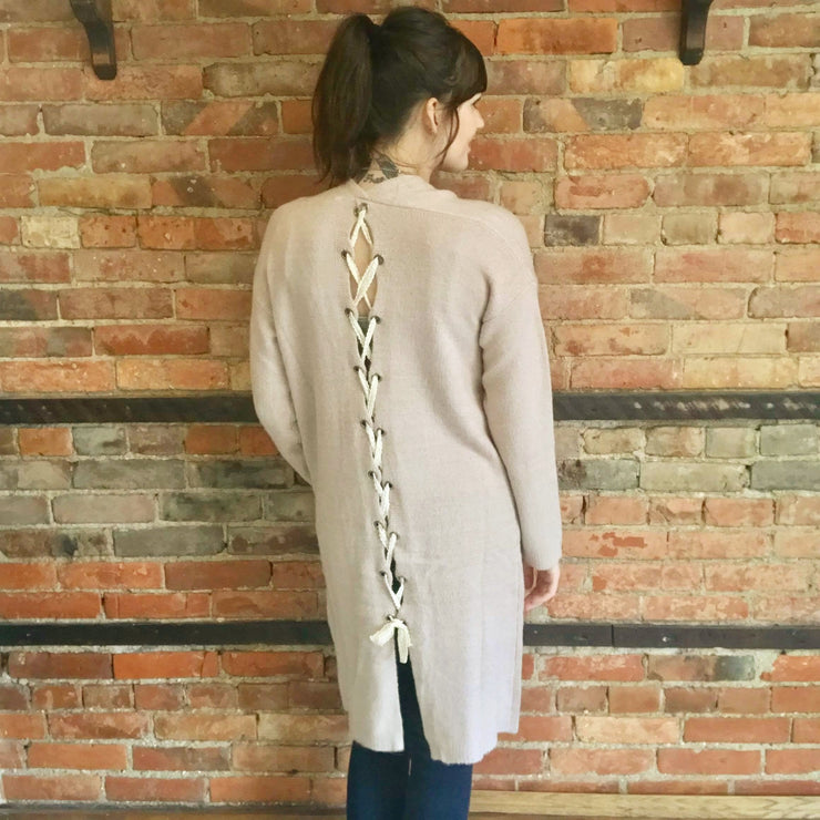 Soft Pink Lace Up Cardigan With Pockets