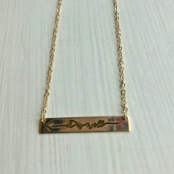 """It Is Well"" Gold Bar Necklace"