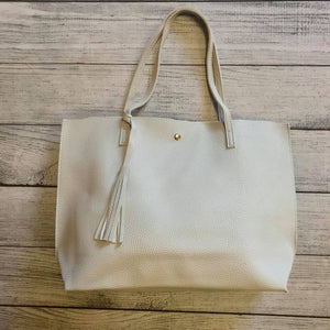 Vegan Leather Tote - grey