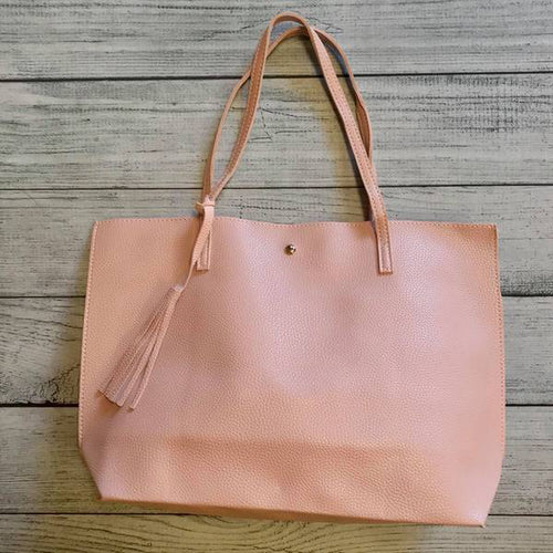 Vegan Leather Tote - Powder Pink