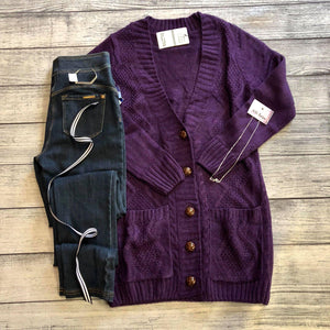 Purple Knit Sweater Cardigan