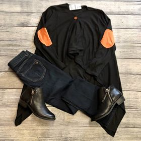 Black Elbow Patch Poncho
