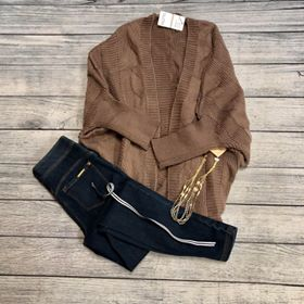 Mocha Cable Knit Cardigan