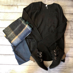 Black Mesh Knit Cardigan