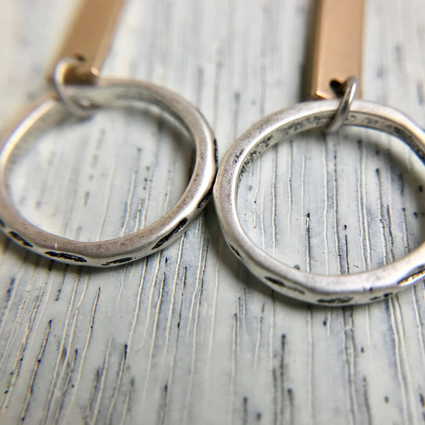 Antiqued Two Tone Bar Earrings