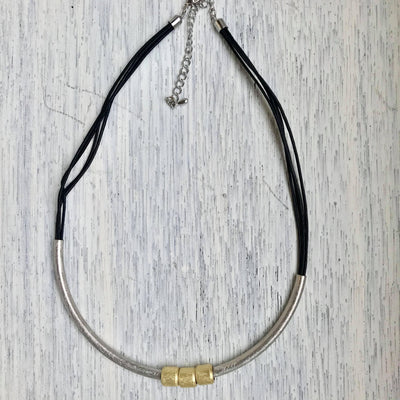 Silver Tube Cord Necklace