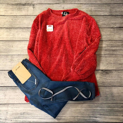 Orange Chenille Sweater