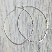Hammered Oval Hoop Earrings