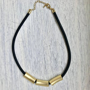 Gold Pipe Beaded Necklace