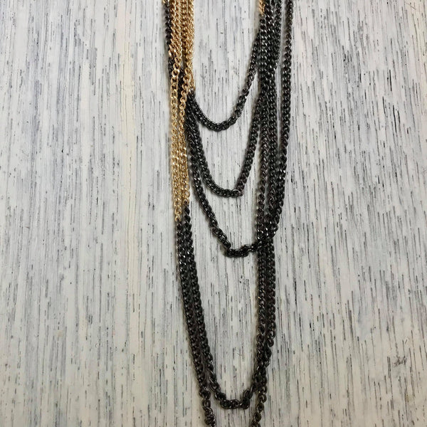 Gold Hematite Layered Necklace