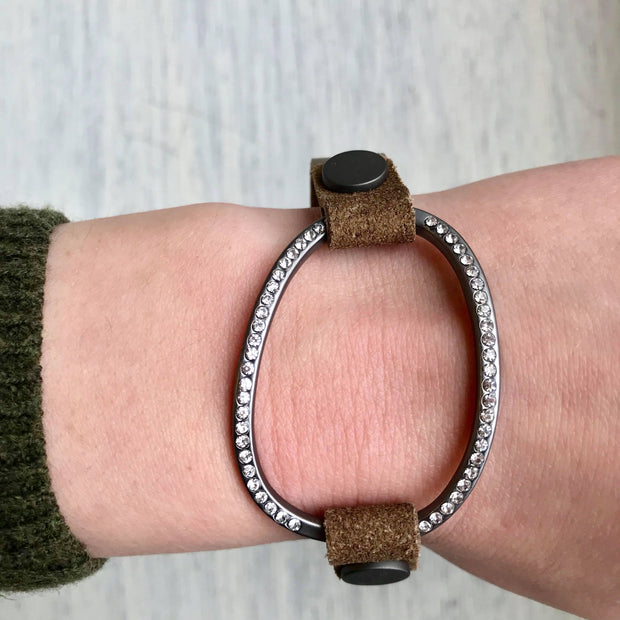 Leather and Crystal Bracelet